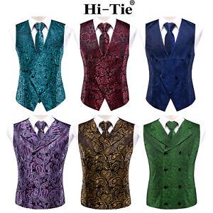 HT Mens Formal Waistcoat Set Paisley Black Vest Polyester Blue Red Wedding Suit