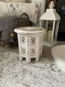 Moroccan Carved Mango Wood Small Side Table in White Distressed Finish