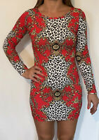 Influence Dress Bodycon Baroque Long Sleeve Size S/M 8 10 Red Black New US11