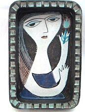 "MARI SIMMULSON UPSALA EKEBY STUDIO POTTERY 10.1/2"" DISH  GIRL WITH TULIP"