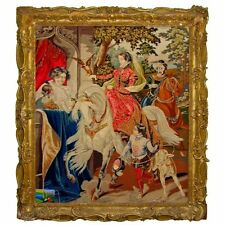 19th Century Needlepoint Tapestry of 16th Century Royal English Scene Hawking