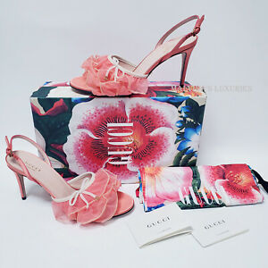 GUCCI SHOES PINK RUFFLE TULLE G LOGO CHARM SLINGBACK SANDALS $980 IT 39.5 US 9.5