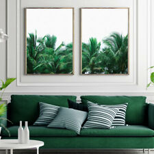 Palm Tree Tropical Green Leaves Painting Fine Wall Art Print Poster A4 A3 A2 A1