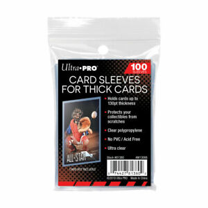 ULTRA PRO THICK SOFT CARD SLEEVES 130PT 100 PACK  FOR THICK AUTO/PATCH CARDS