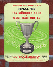 Vintage Tin Sign West Ham 1965 CWC Programme Cover Metal Sign Man Cave