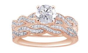5/8 Ct Round Cut D/VVS1 18K Rose Gold Over Infinity Engagement Bridal Ring Set