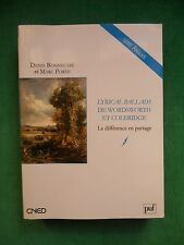 LYRICAL BALLADS DE WORDSWORTH ET COLERIDGE D BONNECASE M PORÉE PUF