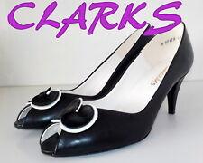 """Amazing """"CLARKS"""" Vintage look  Black  LEATHER Pumps   Shoes UK  6.5  EU 40  £70"""