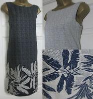 NEW Next Shift Tunic Dress Linen Blend Summer Sun Floral Print Black Ivory 6-26