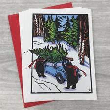 Set of 6 Betsy Bowen Christmas Cards Black Bears on Holiday