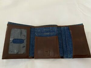 Fossil Classics Trifold Wallet Blue Denim with Brown Leather RARE! Hard to Find!