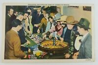 Postcard Linen Game of Chance Roulette Las Vegas Nevada