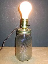 Vintage Crosshatched Quart Ball Glass Canning Jar Lamp electric works FREE SH
