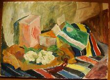 Russian Ukrainian Soviet Oil Painting Still Life Avant-garde cubism kitchen box