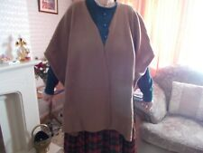 WOOLOVERS Ladies Taupe Wool Blend V Shaped Poncho Cardigan Size Approx. L