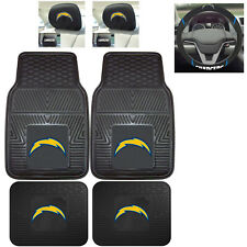 7pc NFL Los Angeles Chargers Heavy Duty Rubber Floor Mats Steering Wheel Cover