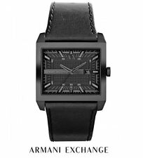 NWT Men's ARMANI EXCHANGE AX2205 Black Leather Rectangle Square Face A/X WATCH