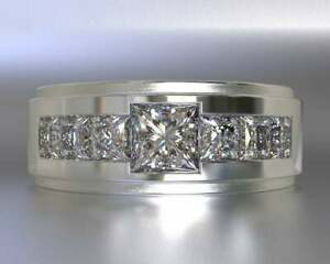 Invisible Setting Men's Ring Solid 14K White Gold GGL Certified Natural Diamond