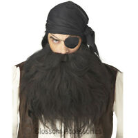 A668 Mens Deluxe Pirate Beard and Moustache - Black Halloween Costume Accessory