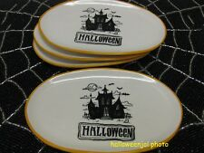 4 HALLOWEEN PLATES Haunted HOUSE OVAL APPETIZER BOOVILLE MAGENTA Dunn Inspired