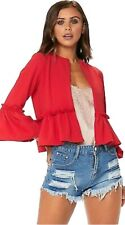 Womens Ladies Ruffle Frill Bell Sleeve Blazer Jacket Coat Top Size UK 8-26