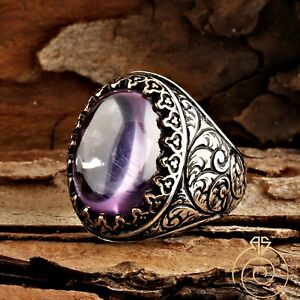 Mens Butique Engraved Amethyst Ring Curved Stone Man Jewelry Antique Cool Style