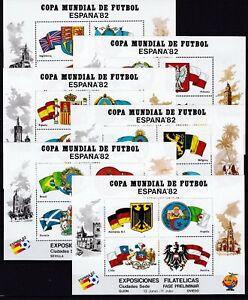 Spanien komplette Serie der Sonderblocks Fahnen & Wappen Fußball soccer 1982