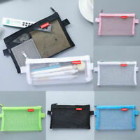 Mesh Zipper Makeup Bag Pencil Pouch Travel Accessories Holder Clear Transparent