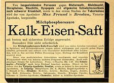 Max Freund Victoria Apotheke Breslau KALK  EISEN SAFT Historische Reklame v.1895