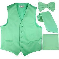 New Men's tuxedo Vest Waistcoat With Necktie, Bowtie & Hankie Set Aqua Green