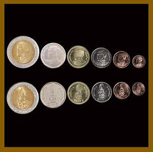 Thailand 25 50 Satang 1 2 5 10 Baht (6 Pcs Coin Set) 2018 Bimetallic K. Rama Unc