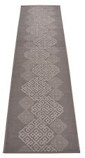 Grey Italian Meander Greek Key Runner Rug Non Skid Slip Backing 2x7 2 by 7