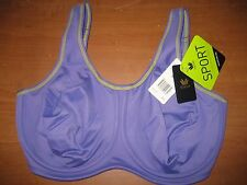 New WACOAL 855170 Full Figure Underwire Sports Bra Blue Purple Gray Coral NWT