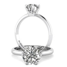 1 Ct Round Cut Diamond Engagement Ring  VS1/D 14K White Gold