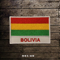 BOLIVIA Flag With Name Embroidered Iron On Sew On Patch Badge For Clothes Etc