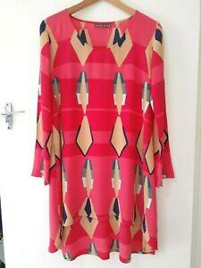 MISTER ZIMI long sleeve multicolour viscose dress with high/low hem. Size 8