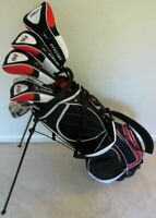 "Tall Mens Complete Golf Club Set +1"" Driver Woods Hybrid Irons Putter Stand Bag"