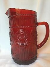 Pioneer Woman Ruby Red Adeline Glass Pitcher 8 1/2� Hobnail