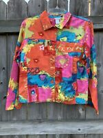 Coldwater Creek Art to Wear Floral Button Blazer Jacket Size PM Petite Medium