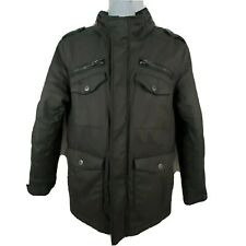 Schott NYC Army Type Military Jacket Mens Size L Black Insulated Hooded