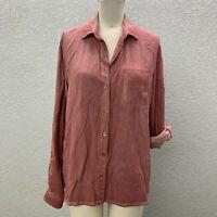 Velvet Heart Button Up Shirt Women's L Dusty Rose Long Roll Tab Sleeve Pocket