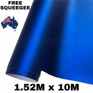 1.52M X 10M DARK BLUE MATTE METALLIC CHROME CAR VINYL WRAP FILM ROLL AIR RELEASE