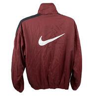 Nike Vintage 90's Windbreaker Zip Jacket Big Check Swoosh Maroon Red Men's Large