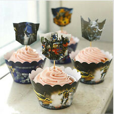24 PCS TRANSFORMERS CUPCAKE TOPPERS & WRAPPERS / PARTY SUPPLIES/ BIRTHDAY