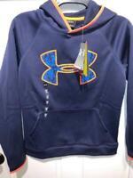 NWT UNDER ARMOUR UA Storm Big Logo Boy's Fleece Hoodie Navy YL Youth Large
