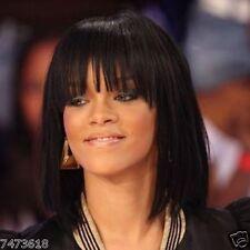 100% Real Hair Attractive Medium Full Bang Straight Black Women's Wig Human Hair
