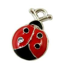 Ladybug Charm/Pendant Enamel & Alloy Red/Black 18mm  10 Charms Accessory Crafts