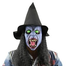 HALLOWEEN FULL FACE WITCHES MASK Long Black Hair Green Eyes Party Fancy Dress👻