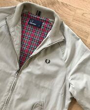 FRED PERRY CLASSIC TARTAN LINED EALING COTTON TWILL HARRINGTON JACKET S stone