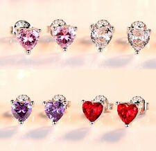 Heart Charm Stone Stud Earrings 925 Sterling Silver Womens Girls Jewellery Gift